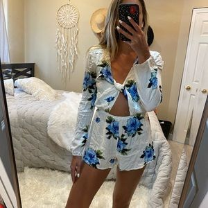Kendall and Kylie white knotted romper
